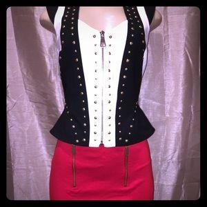 NWT BEBE Studded Black & White Vest Size S
